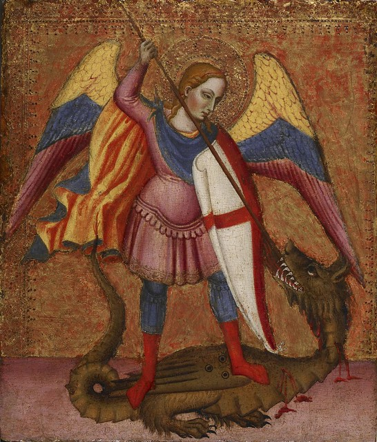 Archangel Michael Slaying The Dragon By Master Of Saint Ve