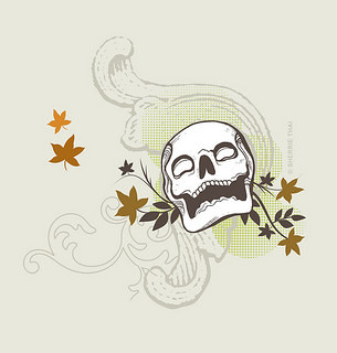 Skull with Maple Leaves