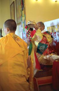 Sakya Trizin and Dagchen Sakya, mandala offering, Sakya College, and entourage, Rajpur, Uttar Pradesh, India, in 1993