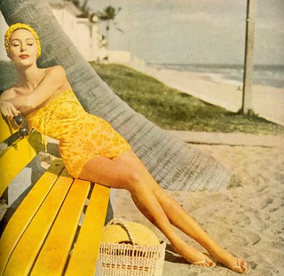 yellow bathing suit, 1950s