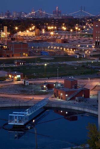 city urban industry skyline view detroit metropolis delray renaissancecenter rustbelt watertreatmentplant downtowndetroit ambassadorbridge detroitskyline industrialdistrict detroitindustry delraydetroit