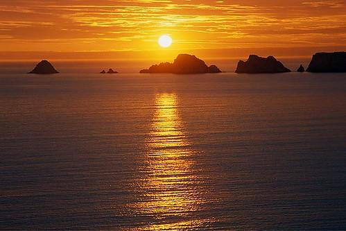 Coucher de soleil sur le tas de pois
