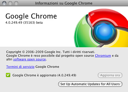 Informazioni su Google Chrome 4.0.249.49 (35163) beta