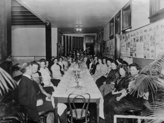 Banquet given in hall of Roberts Hall for Winter Course students and staff in 1909-10.