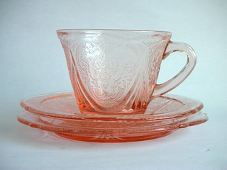 Pink glass tea set