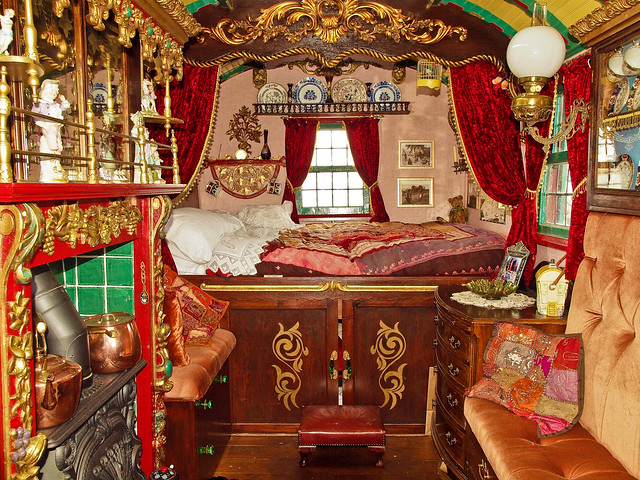 Interior of a horse drawn gypsy wagon