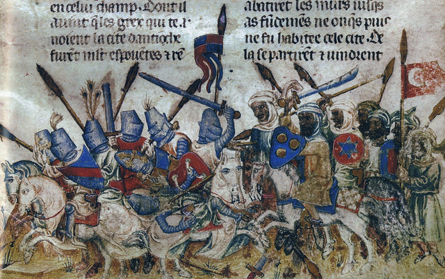The crusader knights clash with Muslim troops during the First Crusade's second siege of Antioch. French manuscript of ca. 1200