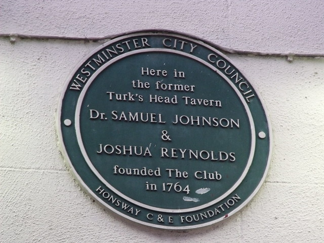 Photo of Samuel Johnson, Joshua Reynolds, and The Club green plaque