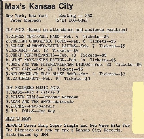Feb.-March 1981 Max's Kansas City Stats (D.I.Y. Magazine 04/81)