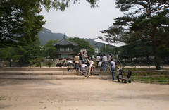 Filmcrew at Hyangwon pond and pavilion, Gyeongbok Palace, Seoul