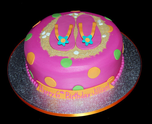 pink polka dot flip flop birthday cake