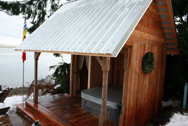 Outdoor Changing Cabana : Hot tub cabana with changing room outdoor shower view of