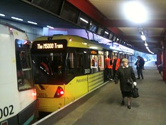 New-style tram spotted at Bury station...