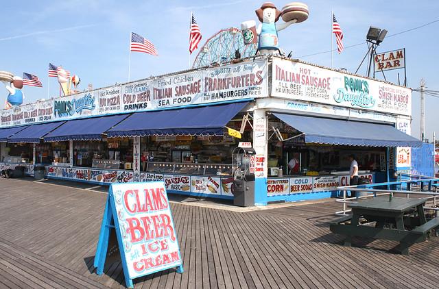 CLAM BAR on Coney Island Boardwalk, Brooklyn, New York, USA. June, 2011