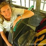 Audrey on Chicken Bus - Marcala, Honduras