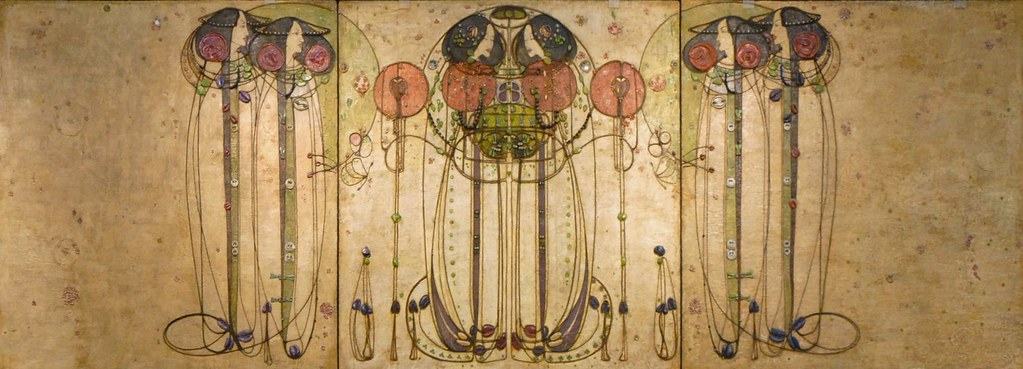 """The Wassail"" dessin de l'artiste art nouveau Charles Rennie Mackintosh au Kelvingrove museum de Glasgow. Photo de Jean Pierre Dalbéra"