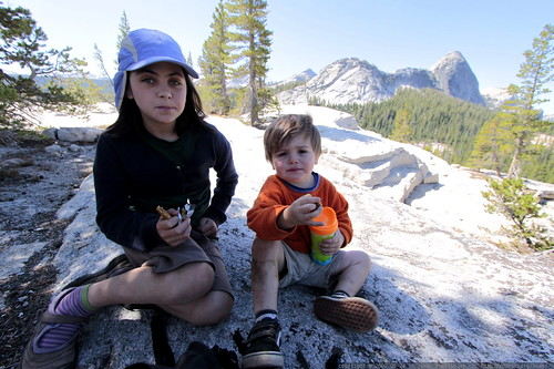 olivia and sequoia eating lunch atop pothole dome