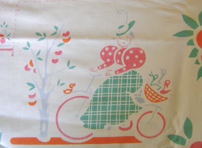 vintage tablecloth 'lady on bicycle'