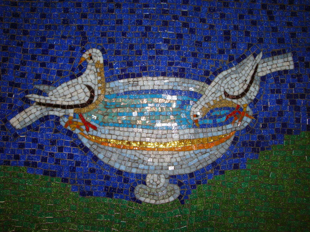 RV Doves Mosaic Coffee Table WIP 20