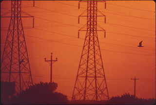 Sunset behind Power Lines in Galveston Bay Industrial Area, 05/1972