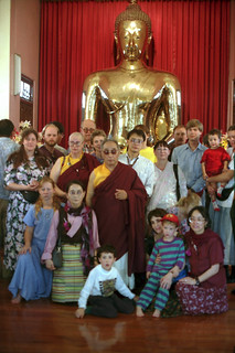 His Holiness Dagchen Rinpoche, Sakya family members, entourage, including HE Dezhung Rinpoche IV tulku, on pilgrimage, Bangkok, Thailand, 1993