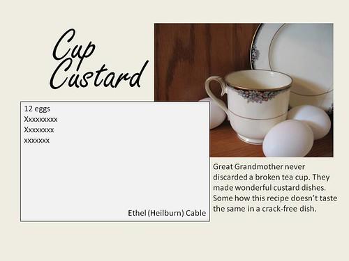 Cup Custard recipe sample layout