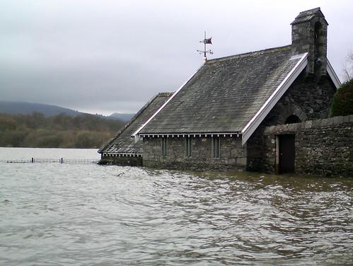 Flooded Lake House, Keswick, Cumbria, UK