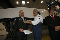 Sir Richard Branson successfully completes his training. Credit Mark Greenberg