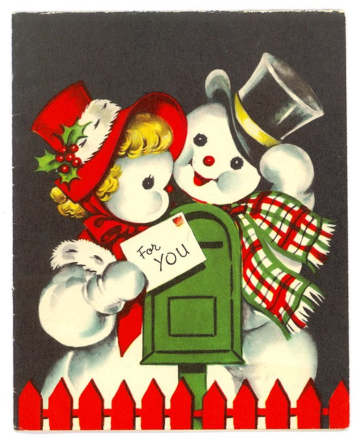 Mr Snowman On Christmas Touching A Snowflake Coloring Page: Vintage Mr & Mrs Snowman Christmas Card