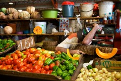 supermarket(0.0), food preservation(0.0), city(0.0), public space(0.0), vegetable(1.0), market(1.0), greengrocer(1.0), produce(1.0), fruit(1.0), food(1.0), marketplace(1.0), local food(1.0),