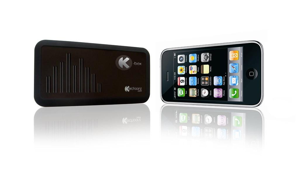 K-box gel speaker photographed with iphone
