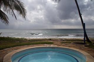 Ausblick vom Pool auf den Diani Beach