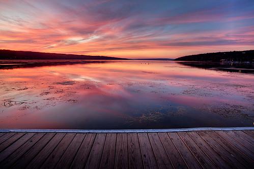 blue sunset orange lake reflection clouds canon dock purple centralnewyork ithaca portfolio fingerlakes cayuga thirds 1740l photomatix lakescum adambaker 9909 5dmarkii exposurefusion ihadsunflowersfortodaybuttheyllhavetowait thosecolorsarereal