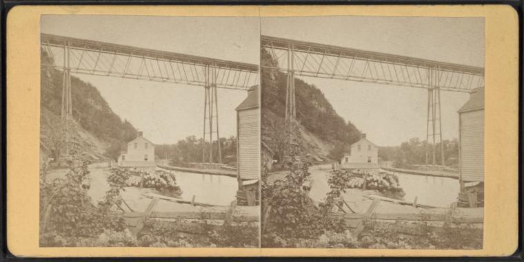 View of R.R. Bridge, Rosendale, looking down the Creek.
