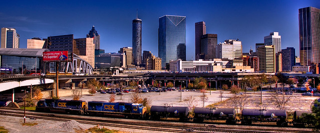Downtown Atlanta Skyline with train