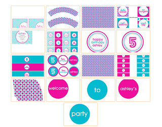 Pink Aqua Modern Party Set   Print Cut Party Printables