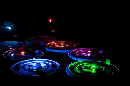 Seven roombas in the dark