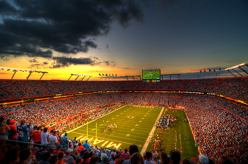sunset sky color sports field clouds photography football interestingness nikon florida miami stadium crowd wideangle explore fans hdr highdynamicrange landshark sunlife acuña d300 chrisacuna