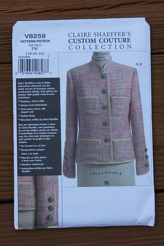 Vogue pattern 8259 Shaeffer Chanel jacket 3 piece sleeve