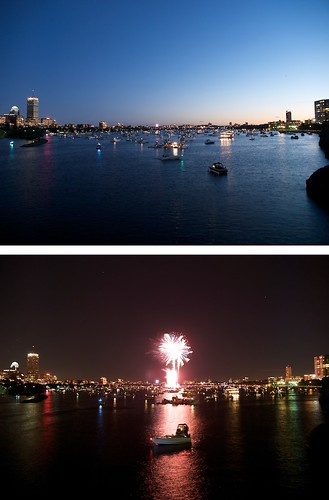 blue red water boston night geotagged boats twilight diptych fireworks charlesriver gps july4th geo:lat=4236108 maperture geo:lon=71073127
