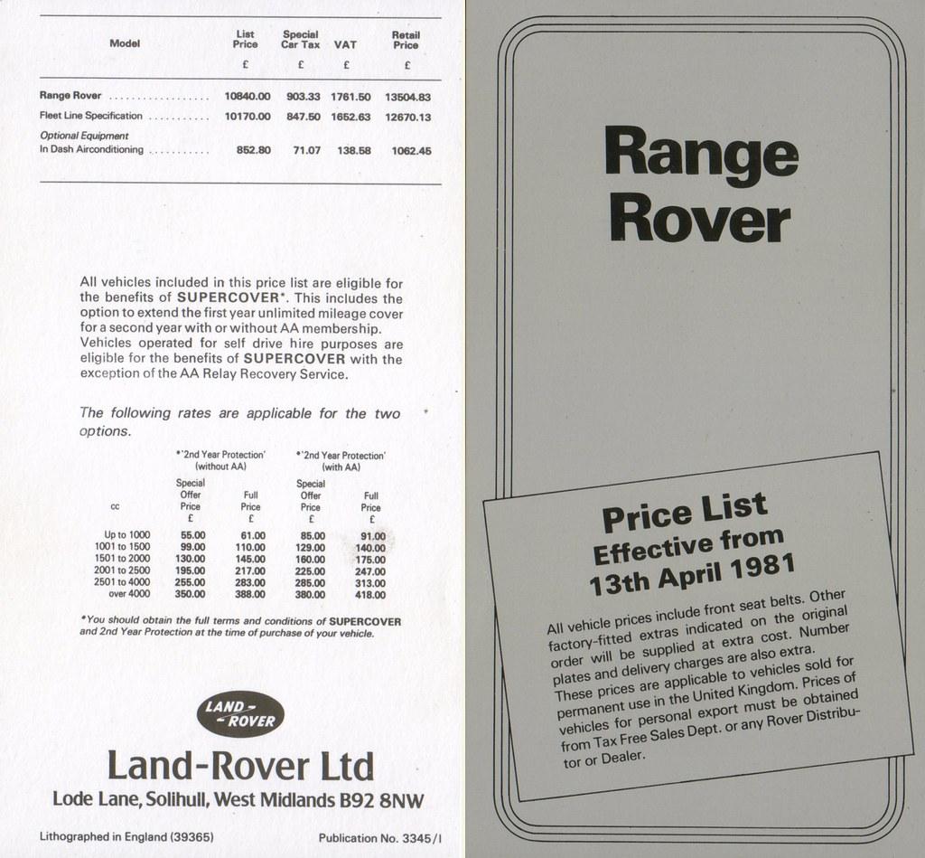 1981 Range Rover Price List