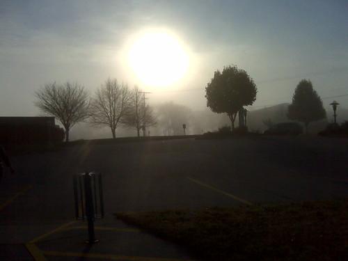 sun fog sunrise