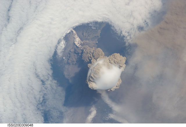 Sarychev Peak Volcano Eruption (NASA, International Space Station Science, 6/12/09)