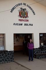 Pauline at the Bolivian border in Kasani