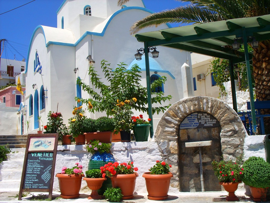Greece: Beachfront village on Aegean Sea, Naxos Island