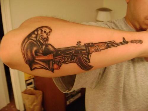 Reaper with an ak tattoo justin at kats like us tattoos for Ak 47 tattoo