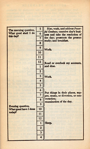 Benjamin Franklin's daily schedule