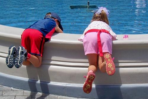 Kids explore fountain at Disney World