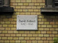 Photo of David Hilbert white plaque