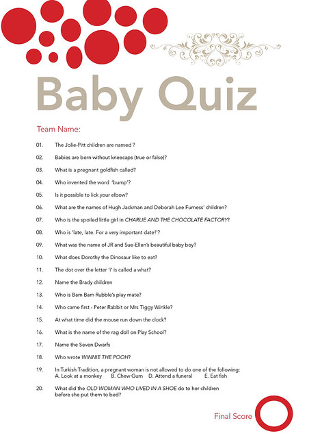 baby shower questions